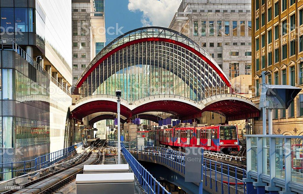 Canary Wharf train station in London stock photo