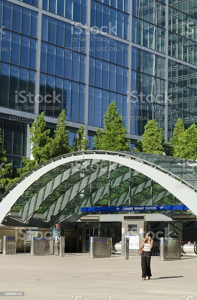 Canary Wharf tube station entrance, London stock photo