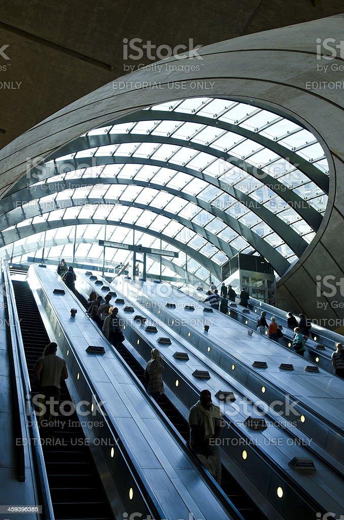 Canary Wharf Tube station escalators, London stock photo