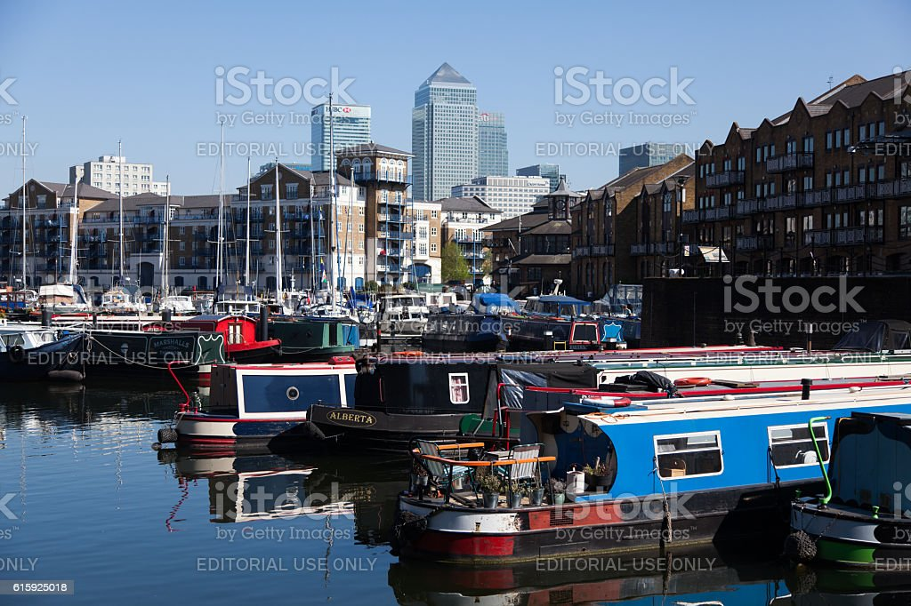 Canary Wharf  Viewed from Limehouse Basin stock photo