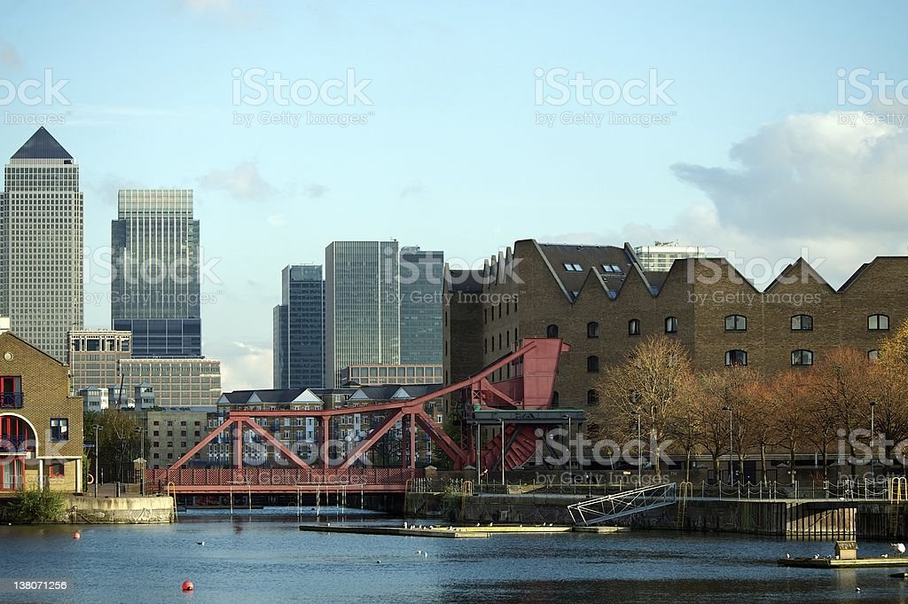 Canary Wharf with Shadwell Basin in foreground, London, UK stock photo