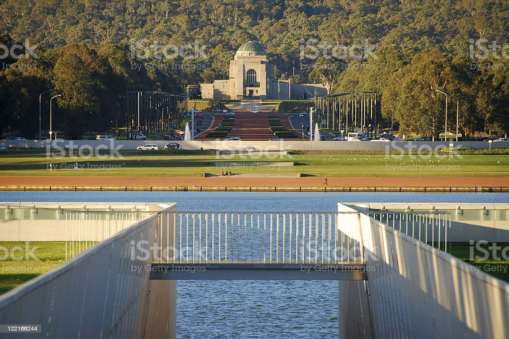 Canberra, ACT, Lake Burley Griffin War Memorial, Australia stock photo