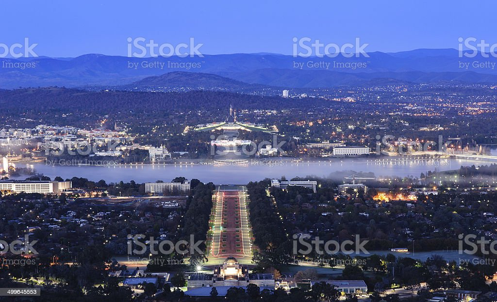 Canberra city at night stock photo
