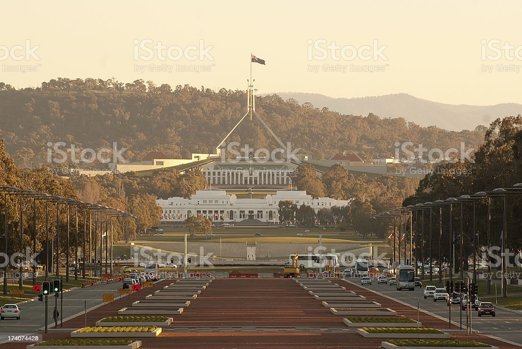 Canberra - Old and New Parliament Houses royalty-free stock photo