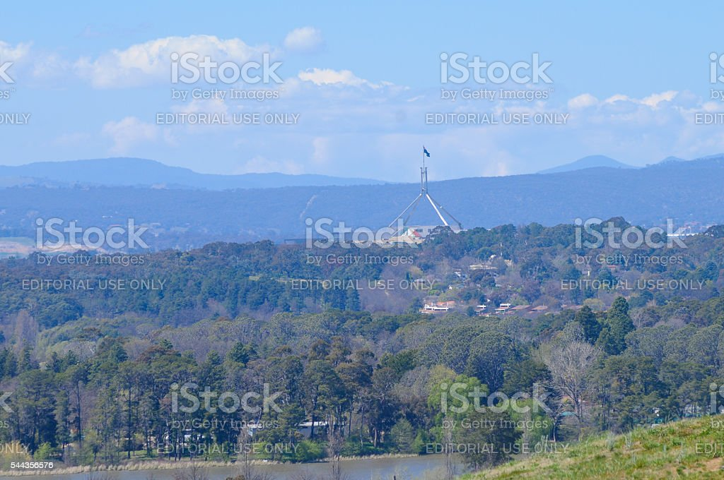 Canberra parliament and the inland forest in Australia stock photo