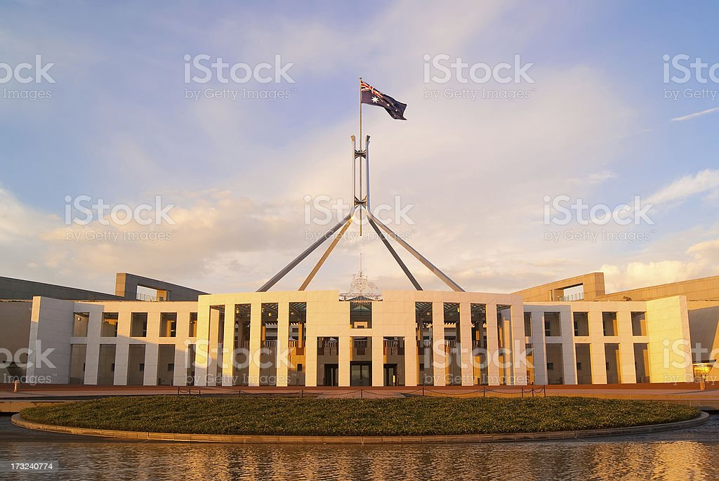 Parliament House at Sunrise stock photo