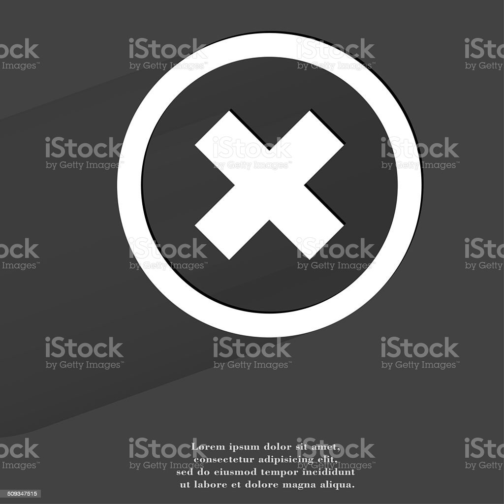 cancel. Flat modern web button with long shadow and space stock photo