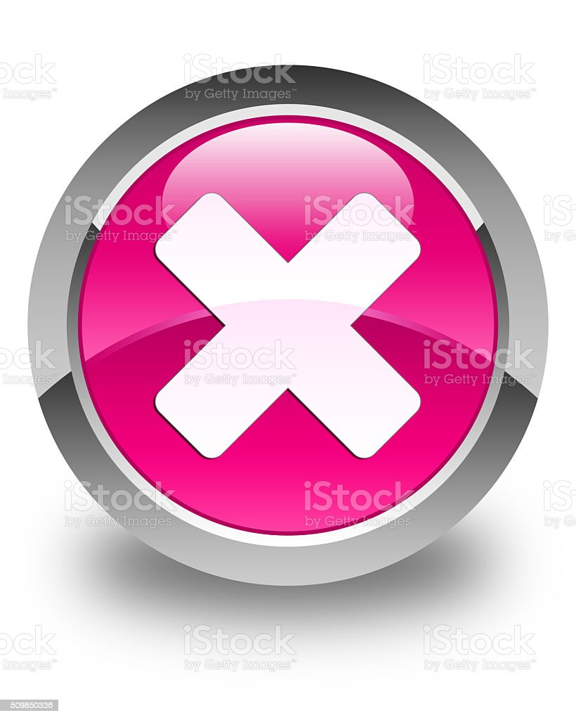 Cancel icon glossy pink round button stock photo