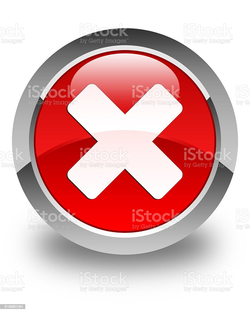 Cancel icon glossy red round button stock photo