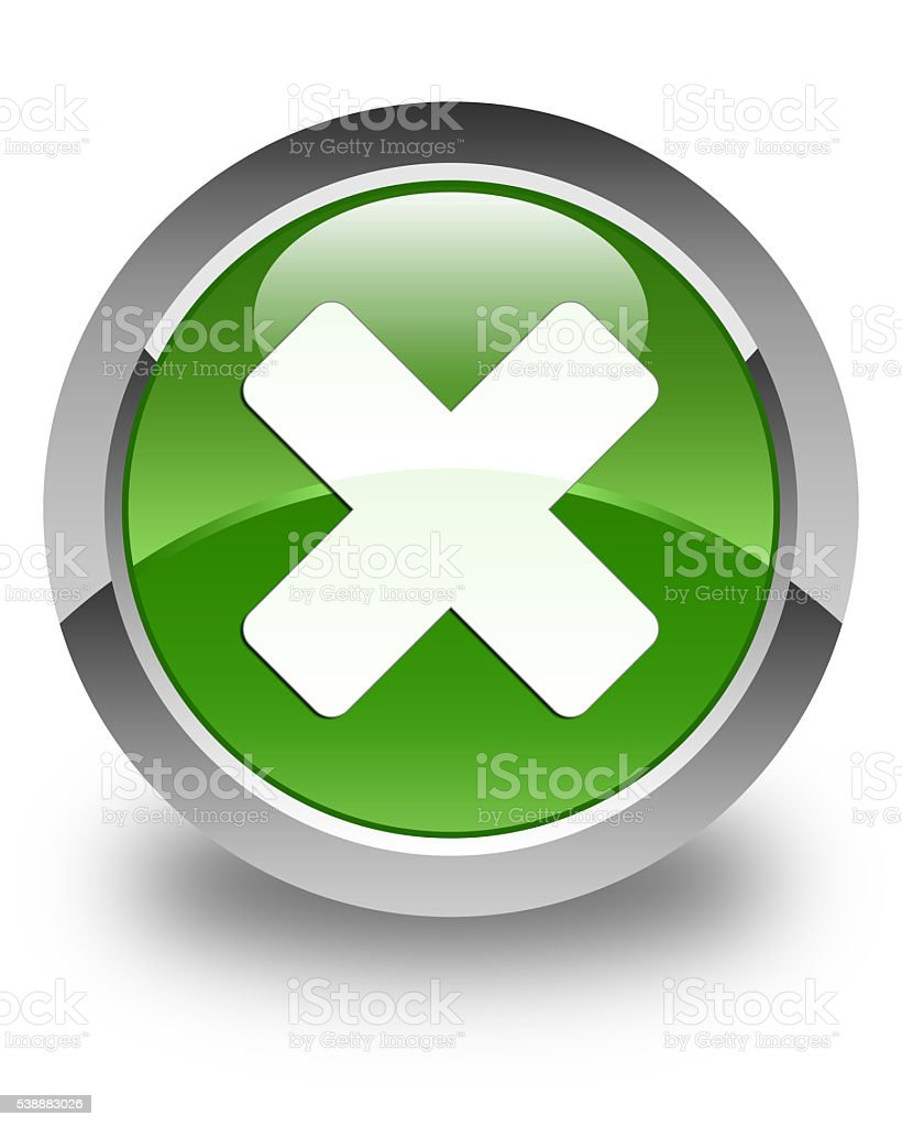 Cancel icon glossy soft green round button stock photo