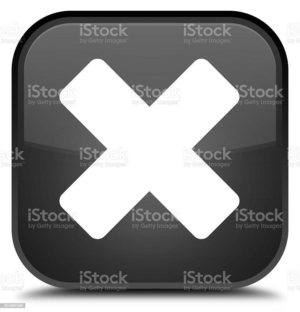 Cancel icon special black square button stock photo
