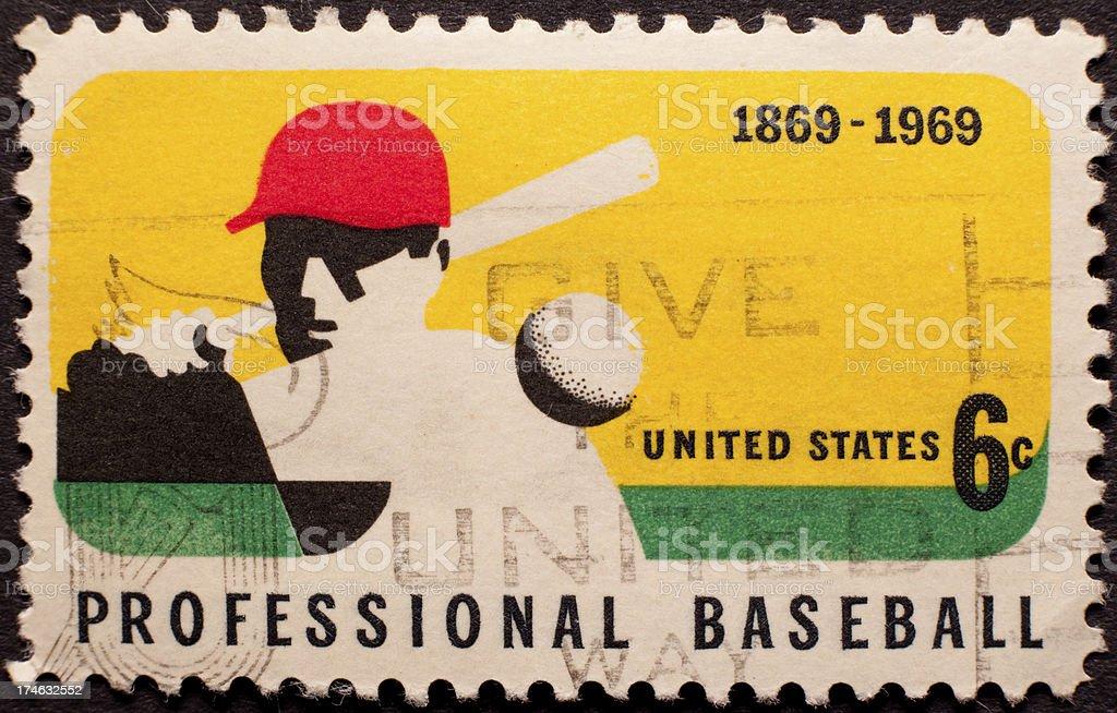 Canceled 1969 Baseball Stamp royalty-free stock photo