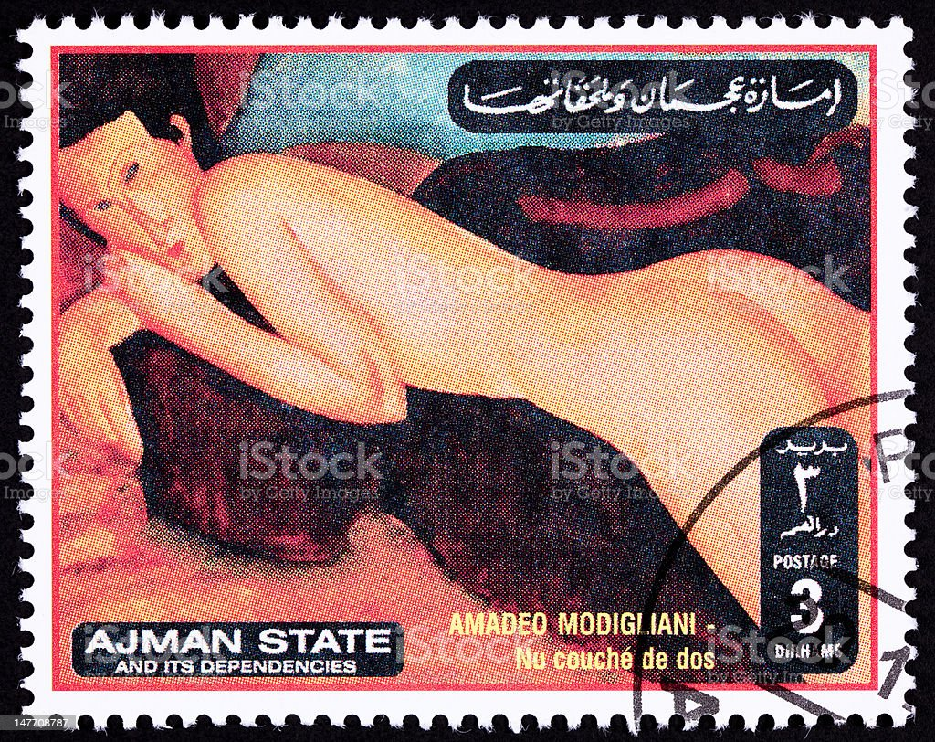 Canceled Ajman Postage Stamp Painting Amadeo Modigliani Reclining Nude Woman royalty-free stock photo