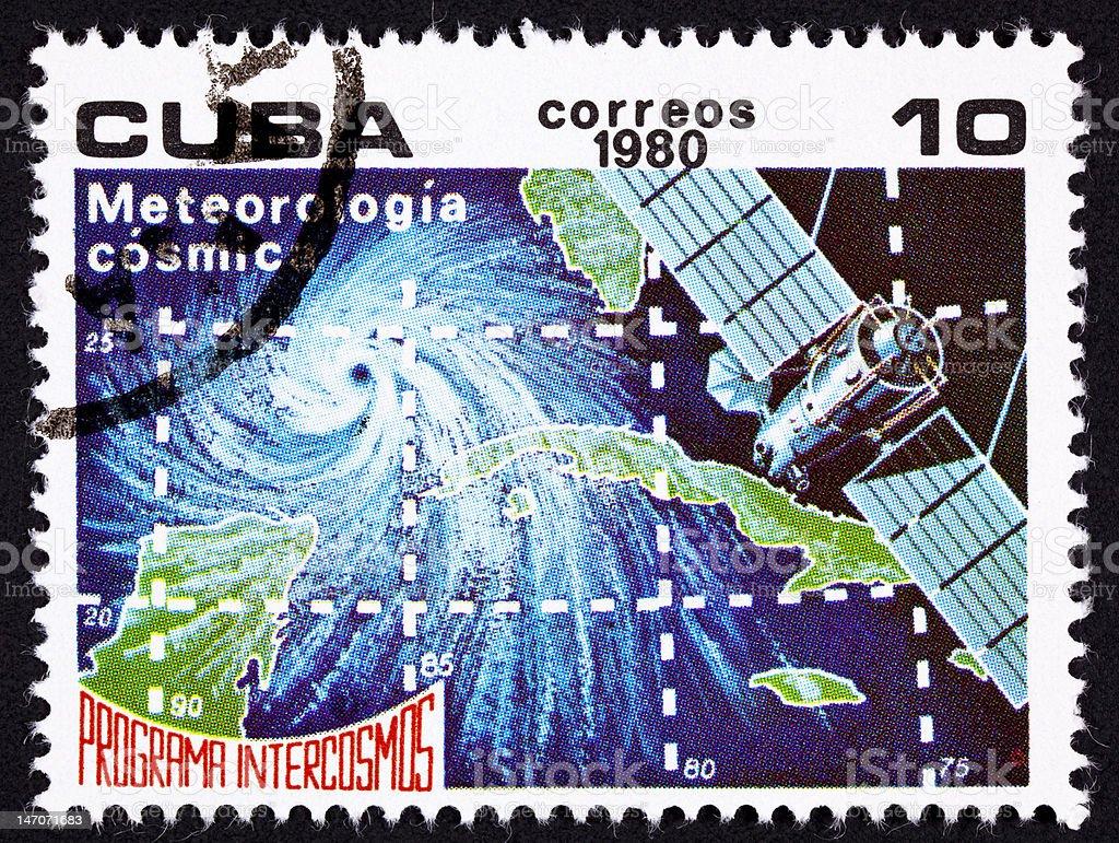 Canceled Cuban Postage Stamp Weather Satellite Meteorology Cuba Hurricane Ocean royalty-free stock photo