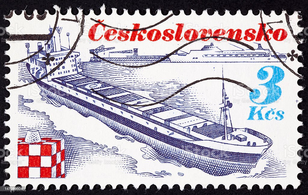 Canceled Czechoslovakian Postage Stamp Czech Container Ship Trinec Bow Wave royalty-free stock photo