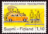 Canceled Finland Postage Stamp Traffic Safety Crosswalk Old New Car