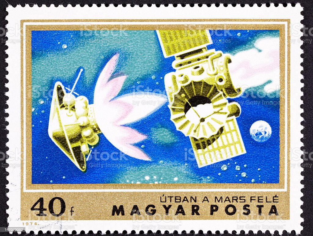 Canceled Hungarian Postage Stamp Mars Bound Space Probe Rocket Seperation royalty-free stock photo