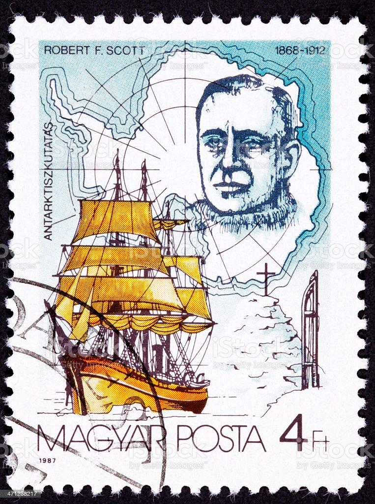 Canceled Hungarian Postage Stamp Robert Scott Antarctic Explorer Sailing Ship royalty-free stock photo