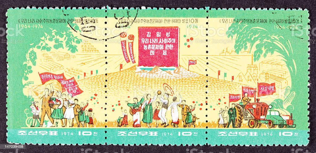 Canceled North Korean Postage Stamp Farmers Dancing Grain Piles Tractors stock photo