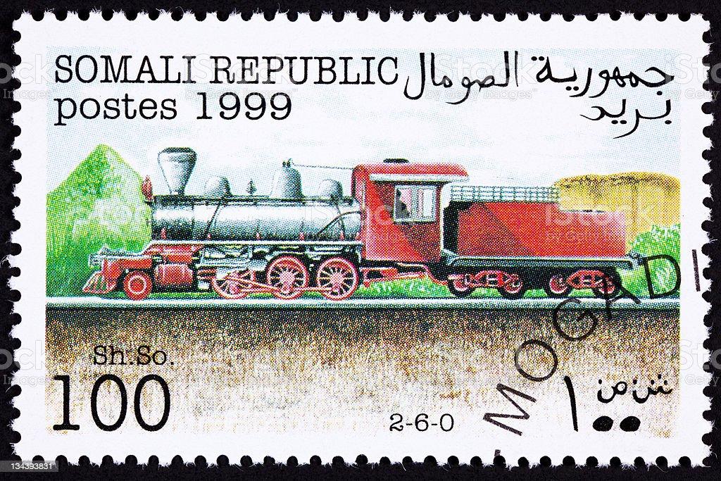 Canceled Somali Train Postage Stamp Old Railroad Steam Engine Locomotive royalty-free stock photo