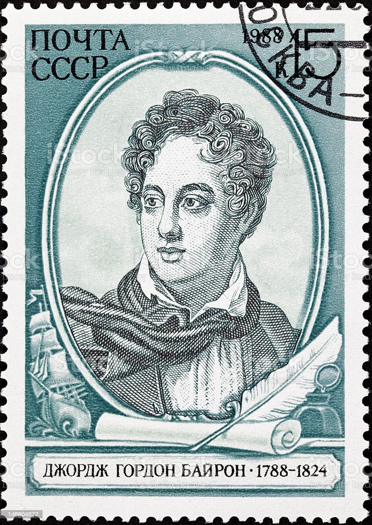 Canceled Soviet Russia Postage Stamp British Poet Lord Byron, Ship stock photo