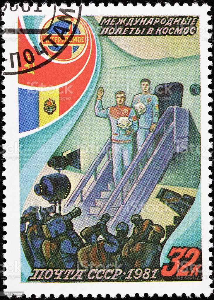 Canceled Soviet Russia Postage Stamp Cosmonauts Exit Airplane Press Conferance royalty-free stock photo