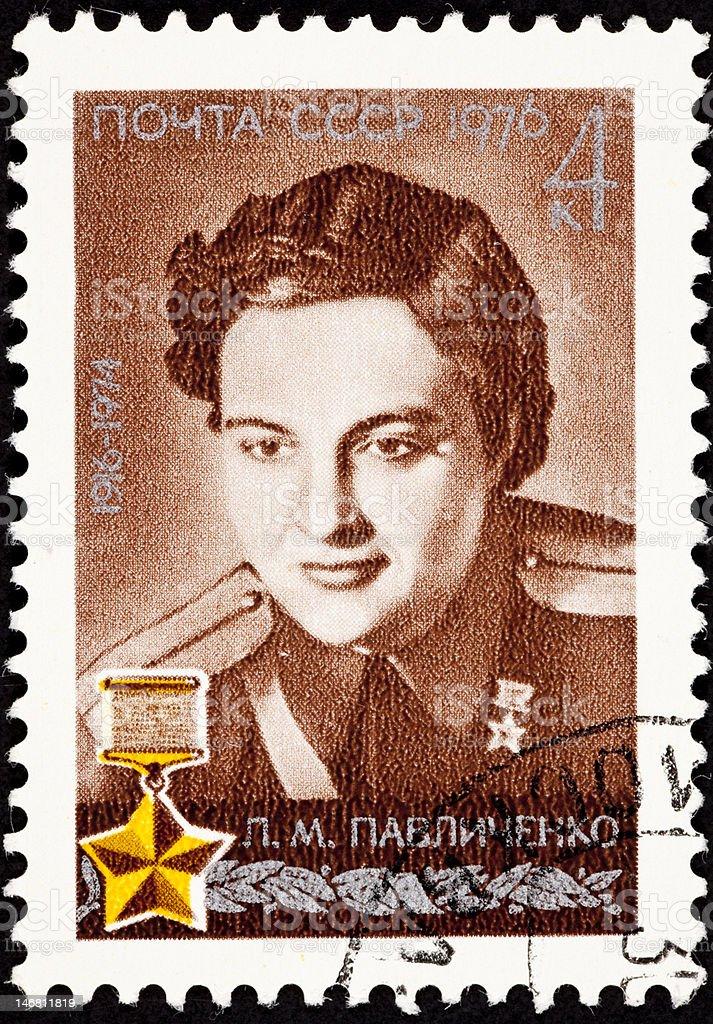 Canceled Soviet Russia Postage Stamp Lyudmila Pavlichenko Female Sniper Soldier royalty-free stock photo