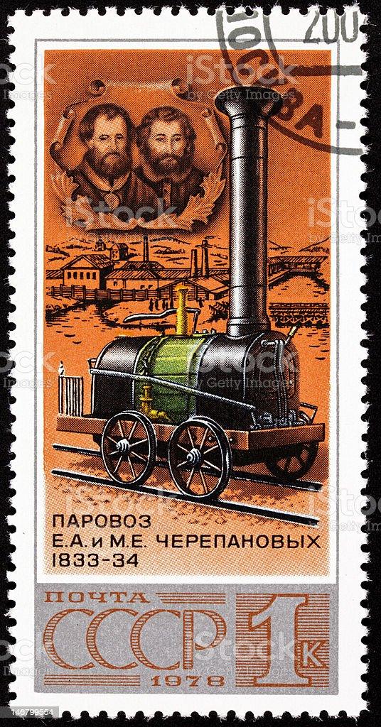 Canceled Soviet Russia Postage Stamp Yefim Miron Cherepanovs Locomotive Designers royalty-free stock photo