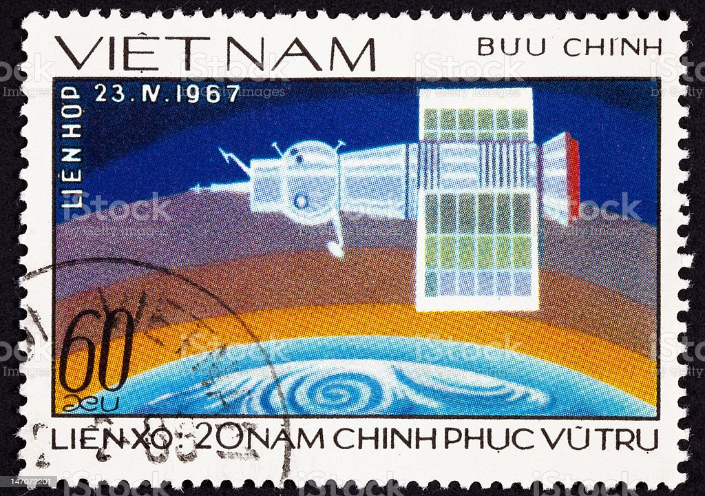 Canceled Vietnamese Postage Stamp Showing Soyuz 1 Space Craft Earth vector art illustration