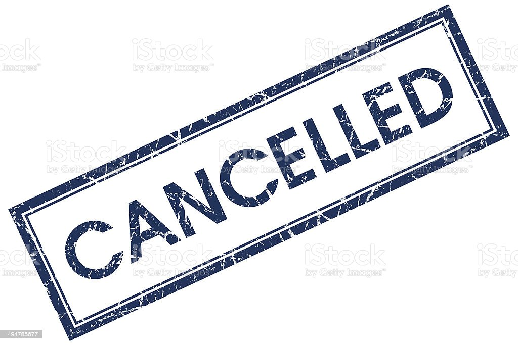 cancelled blue square stamp stock photo