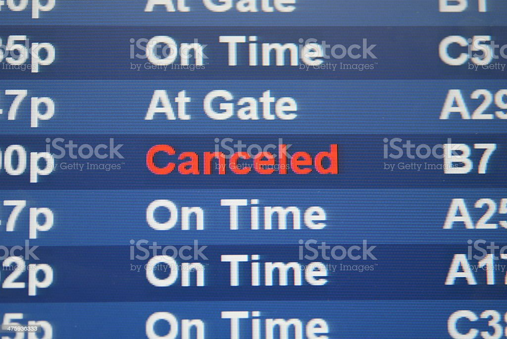 Cancelled Flight on Display Board stock photo