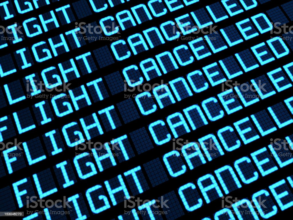Cancelled Flights Departures Board stock photo