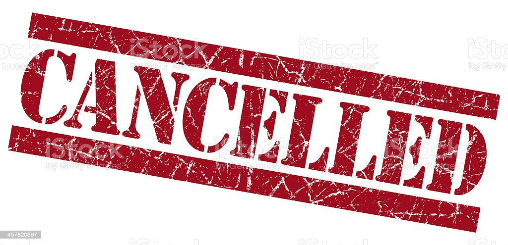 Cancelled grunge red stamp stock photo
