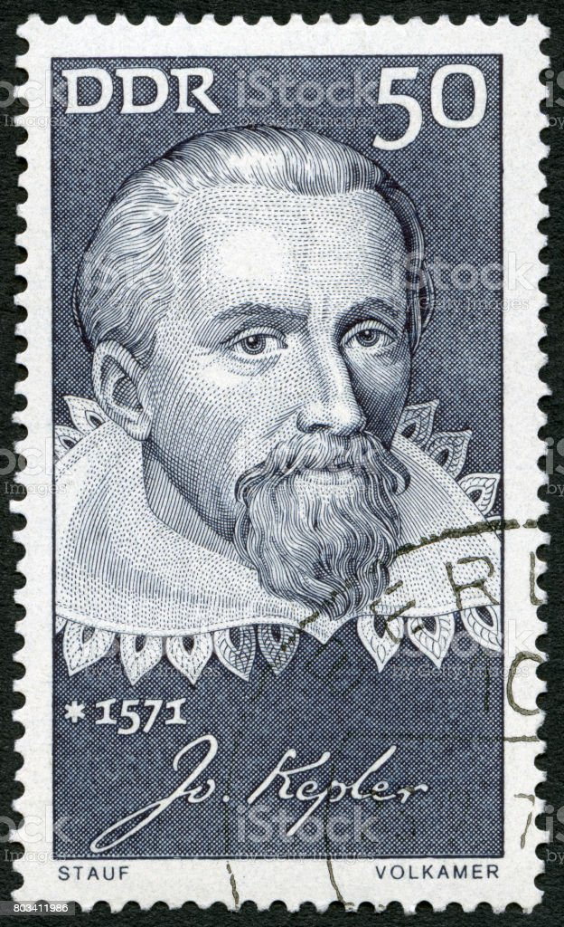 Cancelled Stamp From Germany shows Johannes Kepler (1571-1630), mathematician stock photo