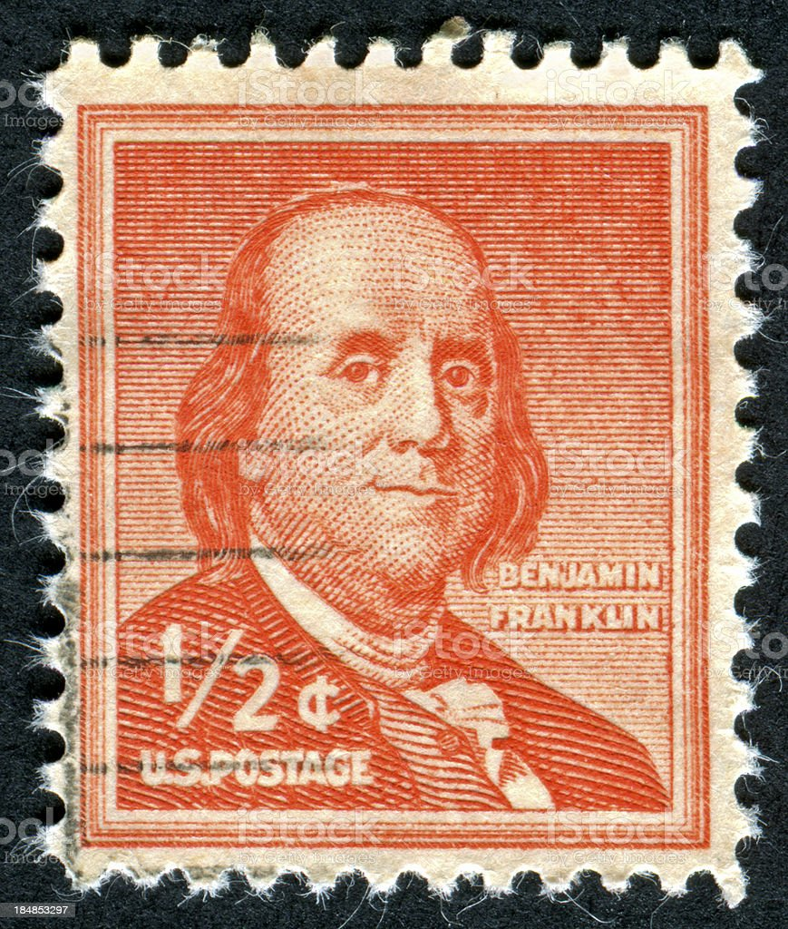 Cancelled Stamp Of Benjamin Franklin stock photo
