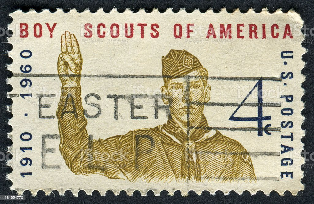 Cancelled Stamp Showing The Boy Scouts Of America stock photo