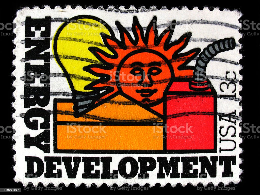 Cancelled USA postage stamp Energy Development royalty-free stock photo