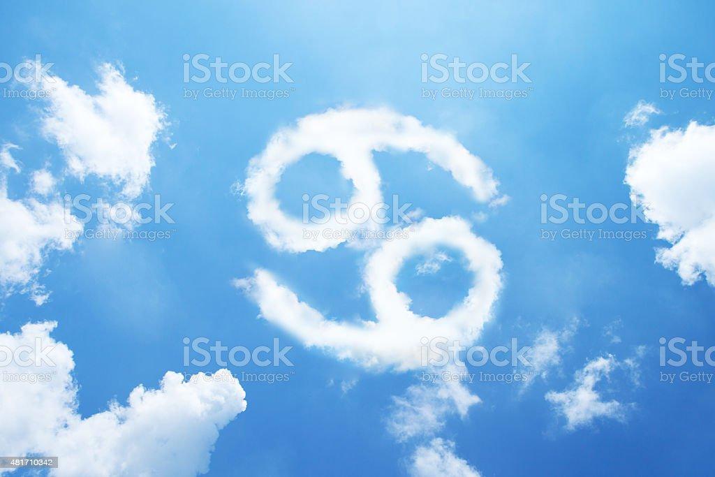 Cancer cloud zodiac sign stock photo