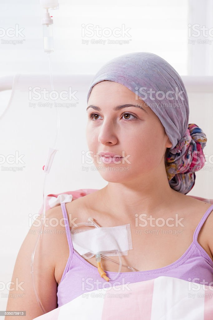 Cancer girl being in hospital stock photo