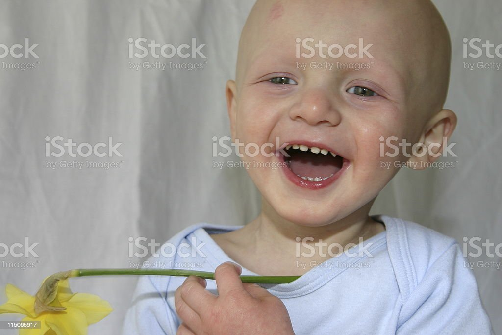 Cancer Kids; baby laughing with daffodil royalty-free stock photo