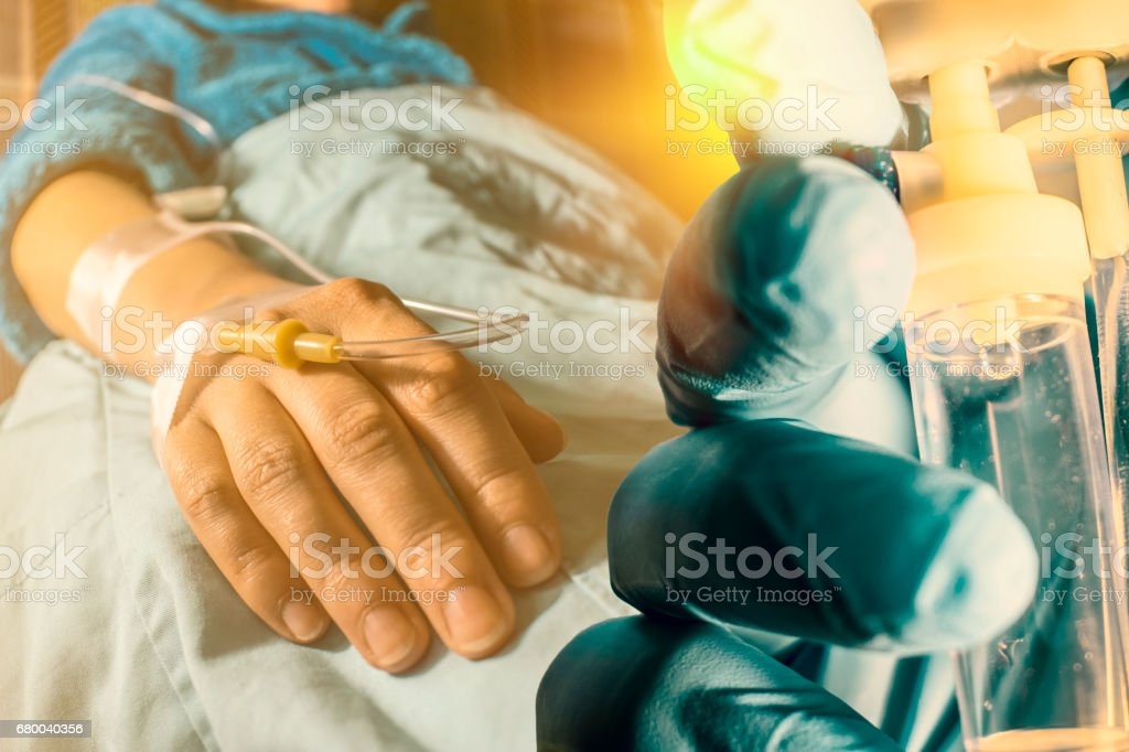 Cancer patient and perfusion drip stock photo