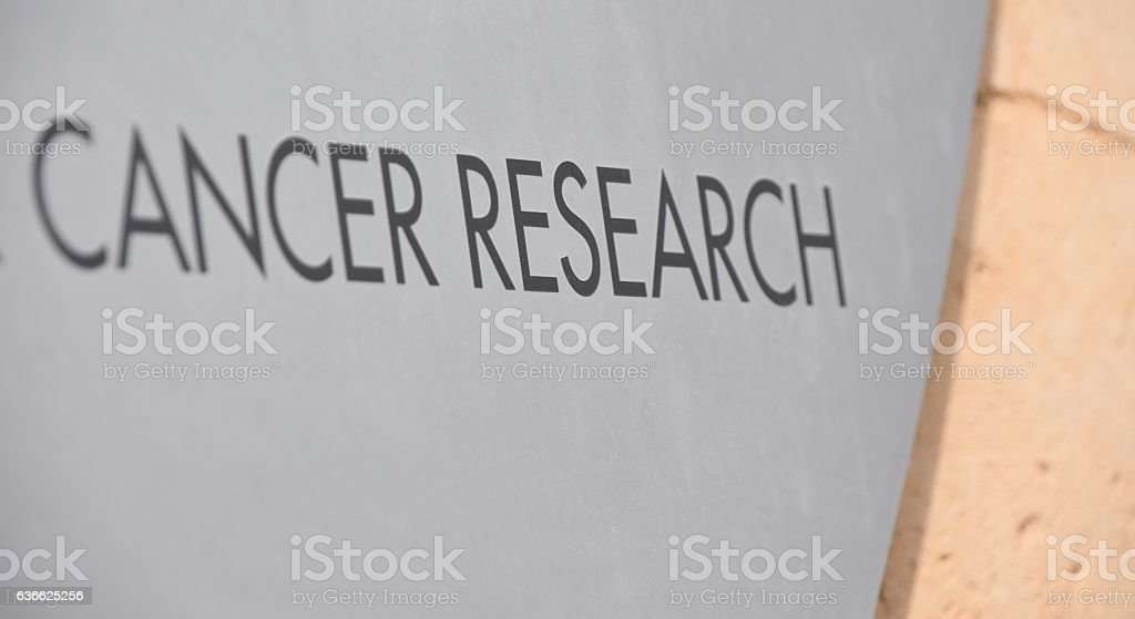 cancer research sign stock photo
