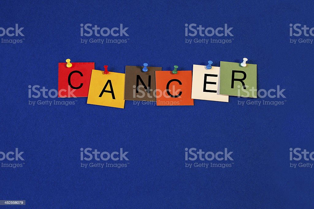 Cancer -  sign for science, biology and medical health care stock photo