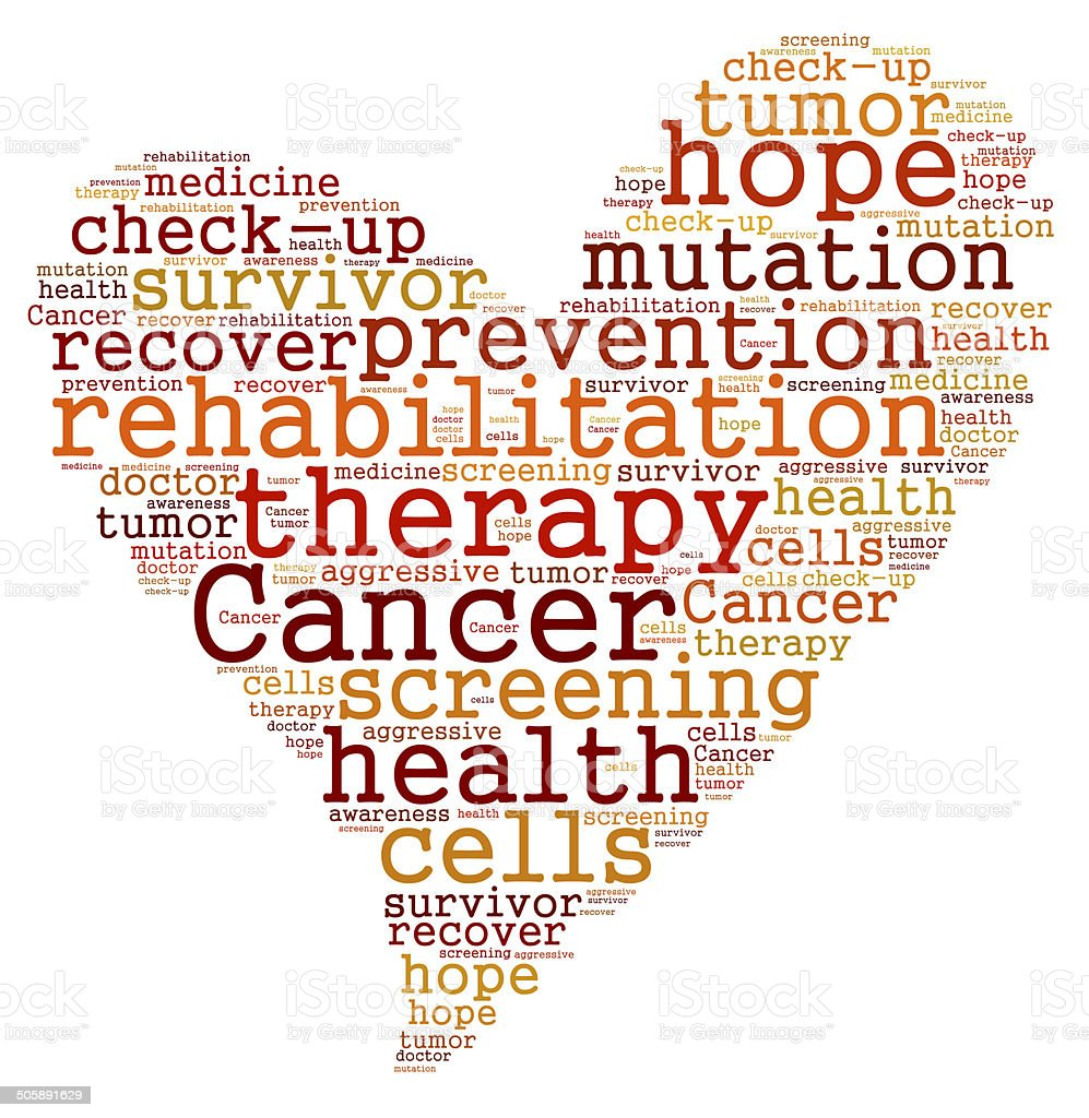 Cancer therapy word cloud stock photo
