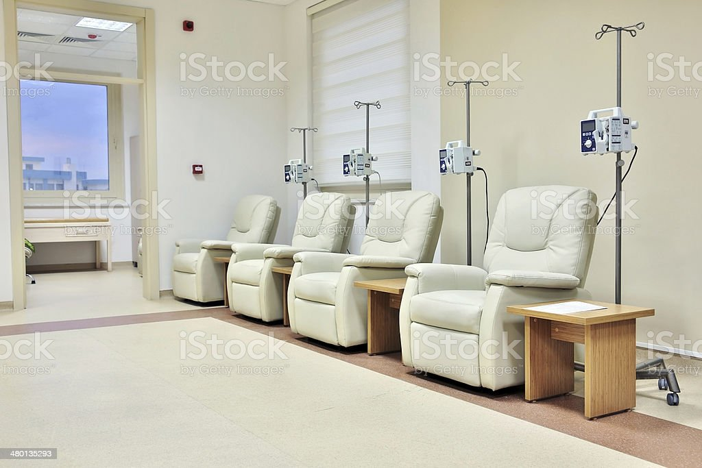Cancer treatment chemotherapy room stock photo