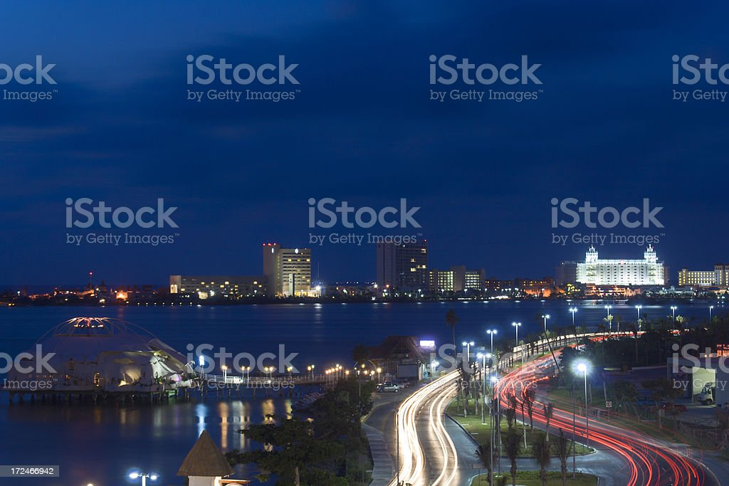 Cancun at Night royalty-free stock photo