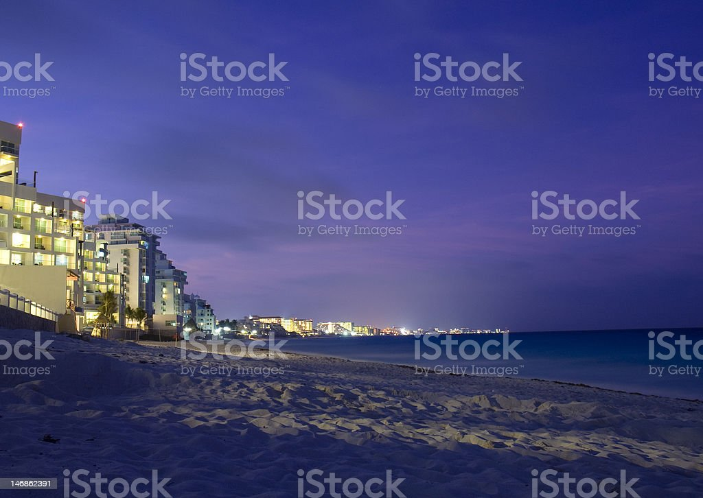Cancun beach at night royalty-free stock photo