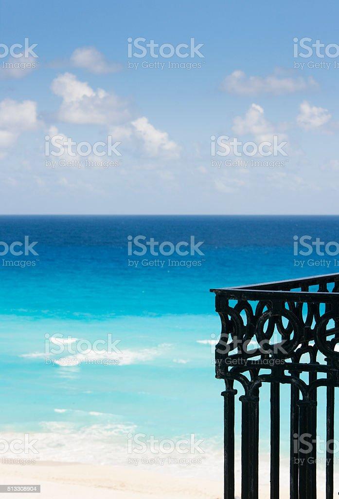Cancun Beach of Caribbean Riveria Maya View from Balcony Railings stock photo