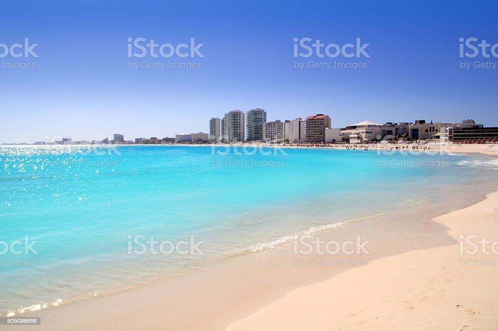 Cancun beach view from turquoise Caribbean stock photo