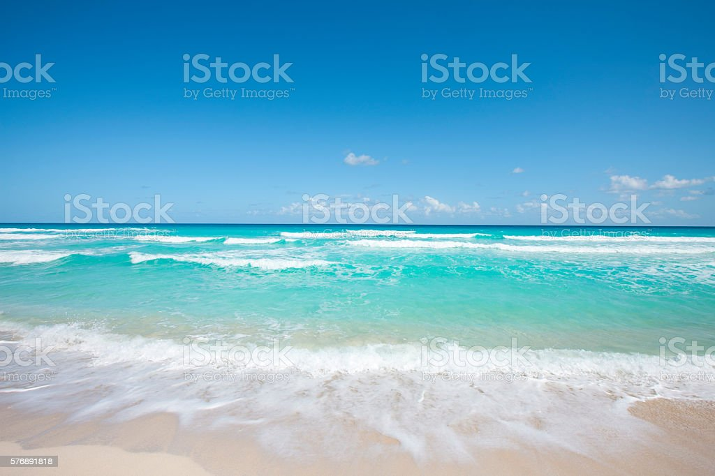 Cancun Mexico Caribbean Sea Ocean White Sandy Beach stock photo